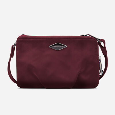 anti-theft parkview double zip crossbody clutch