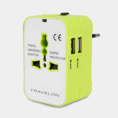 worldwide travel adapter with dual usb chargers