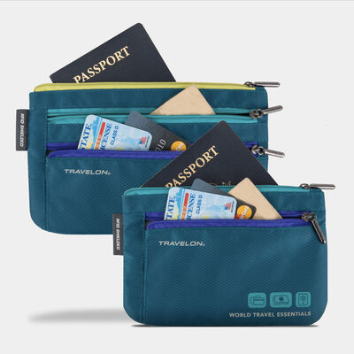 world travel essentials set of 2 currency & passport organizers